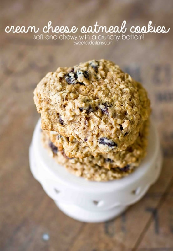 cream cheese oatmeal raisin cookies- these are SO good! they are perfectly soft and chewy with a crunchy base!