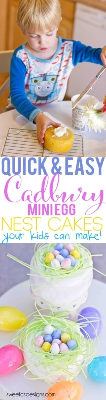 quick and easy cadbury mini egg nest cakes your kid can make- such a fun Easter activity!