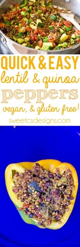 quinoa and lentil stuffed peppers- this gluten free vegan dish is filled with protein and flavor!