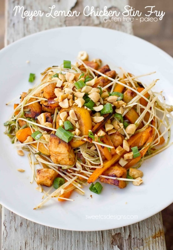 this meyer lemon chicken stir fry uses pea shoots for a gluten free noodle taste!