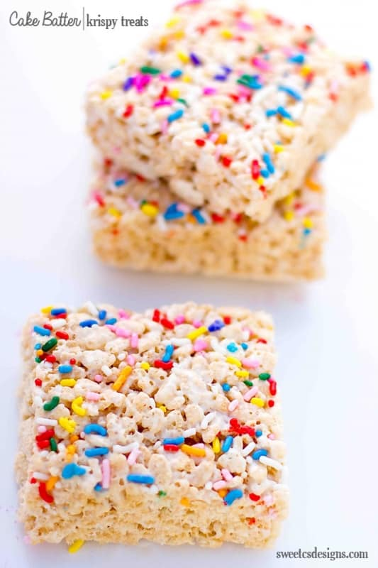 Cake Batter Krispy Trets- these are to DIE for!