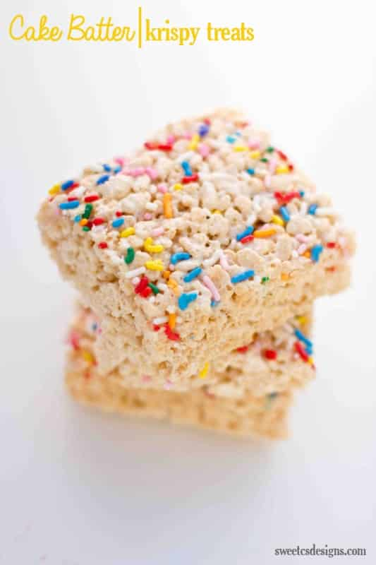 Cake batter rice krispy treats- get out! These are SOOO good!