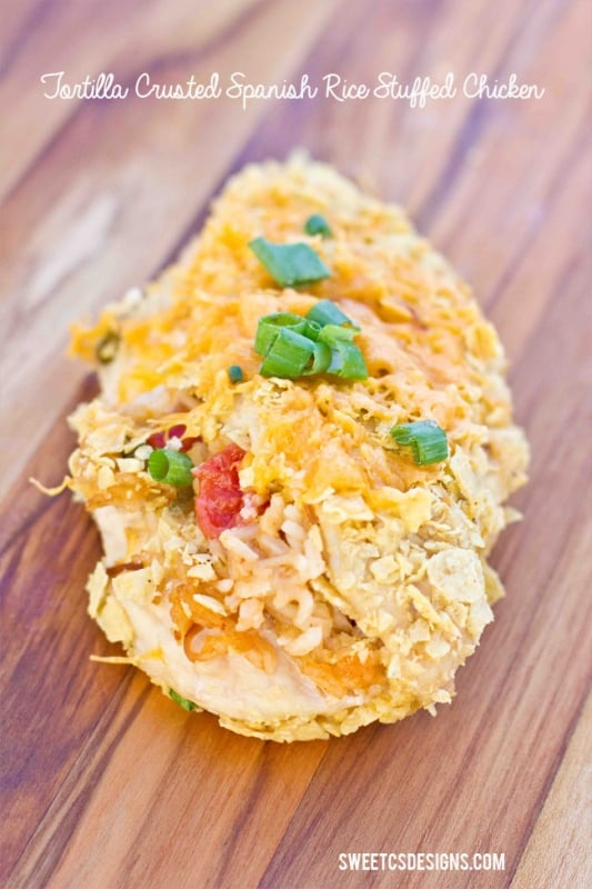 Mexican Chicken- a crispy tortilla chip crust and suffed with spanish rice & cheese!