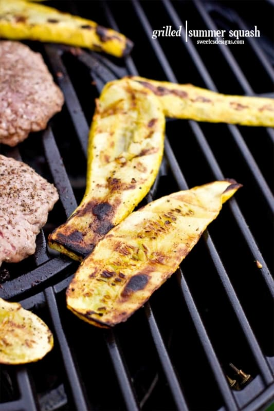 cook your veggies on the grill with your burgers- this recipe for grilled summer squash is so good!