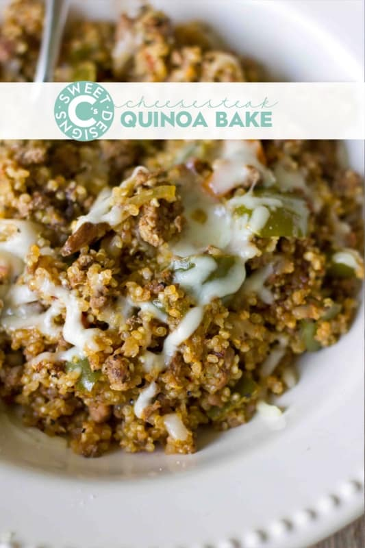 cheesesteak quinoa bake- this is a totally delicious meal your whole family will dig into!