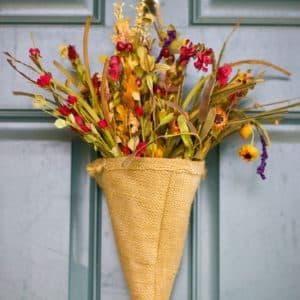 Fall Burlap Flower Cone