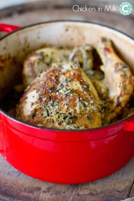 Chicken in milk- this is the most surprisingly delicious method to slow roast chicken!