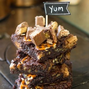 Twix & Pretzel Loaded Brownies