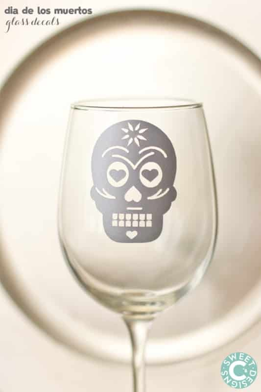 dia de los muertos glass decals- these are super simple to make and so pretty!