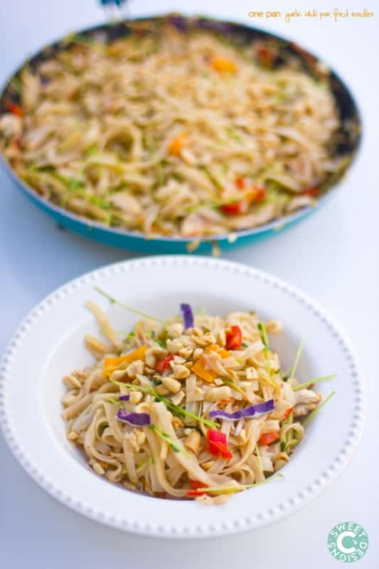 one pan garlic and chili pan fried noodles- this is a delious, quick, and healthy gluten free dish!
