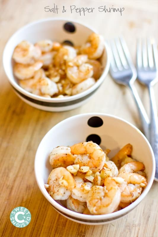 salt and pepper shrimp- this dish is incredibly quick and easy- just four ingredients to perfect shrimp every time!