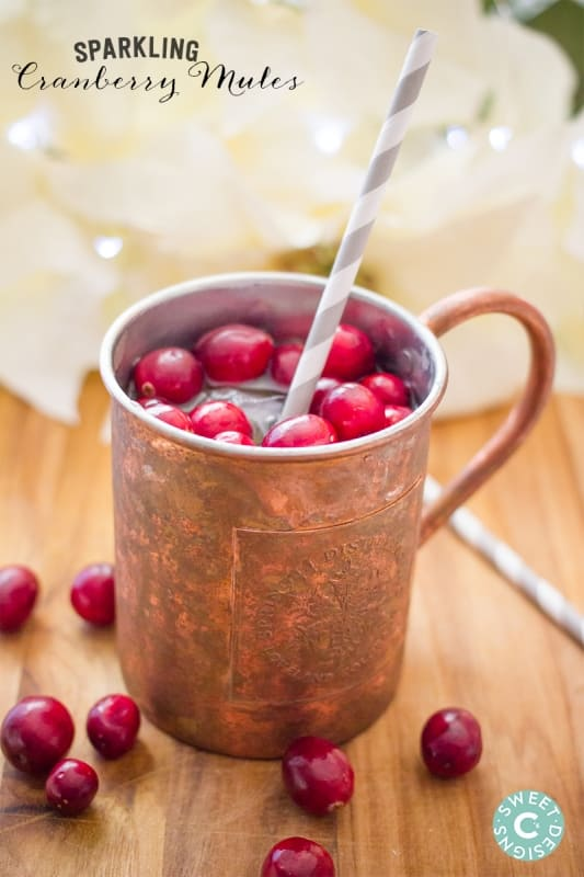 Sparkling Cranberry Mules- these are delicious festive holiday drinks! Virgin recipe too!