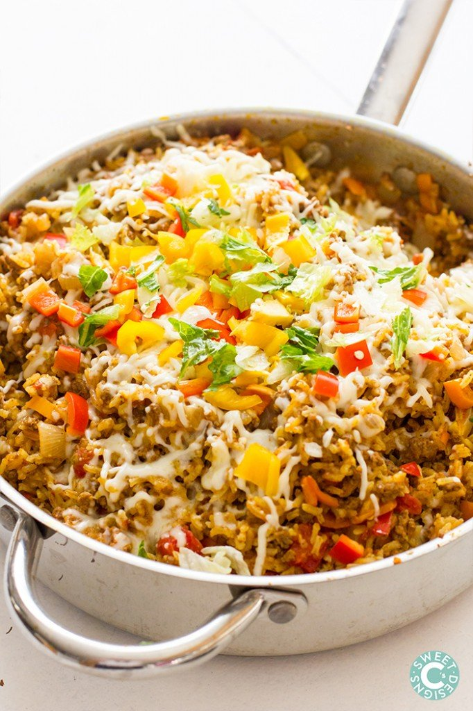 One Pot Spicy Taco Rice Skillet