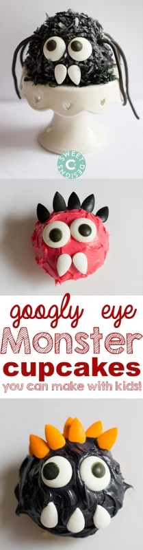 These fun googly eye monster cupcakes- these are so much fun to make with kids!
