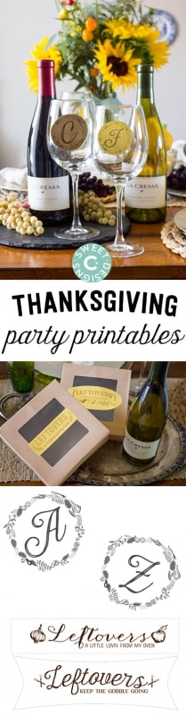 Dinner party printables- gorgeous DIY printable monograms and leftover tags are a great way to dress up any party!