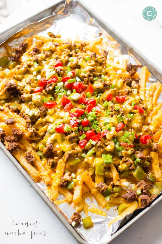 Loaded nacho fries- these are easy and so delicious!