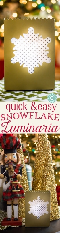 Quick and easy snowflake luminarias- these are so pretty and easy to make!