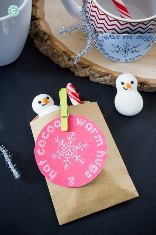 Such a fun gift- hot cocoa gift bags with printable tags and friendly snowmen!