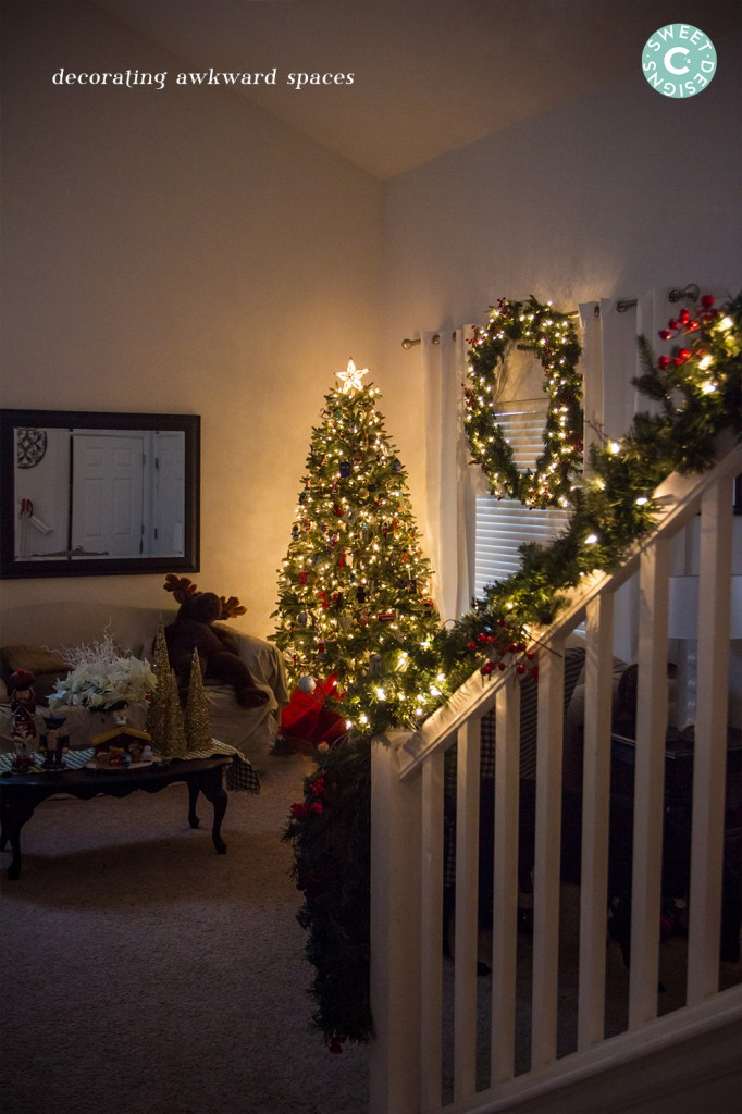 decorating awkward spaces for christmas- how to get a big impact!