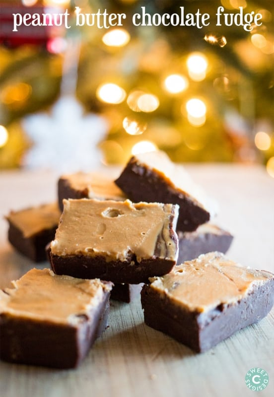 quick and easy no bake christmas treat- peanut butter chocolate fudge!