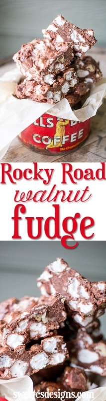 rocky road walnut fudge- this is amazingly delicious and easy!