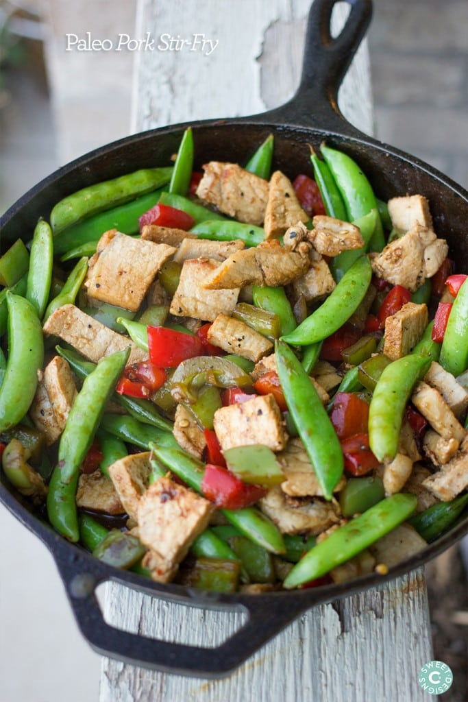 Paleo pork stir fry- this delicious quick dish takes ust one pot and is so good!