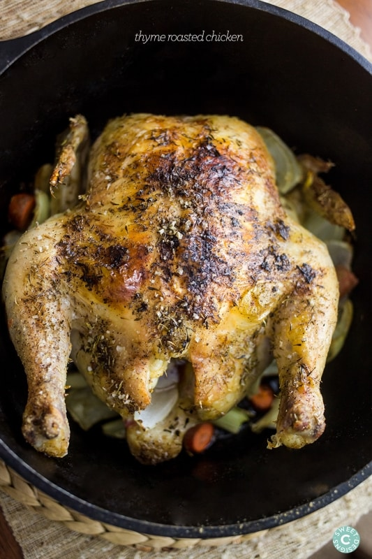 Thyme Roasted Chicken- this delicious and easy dish is our family's favorite!
