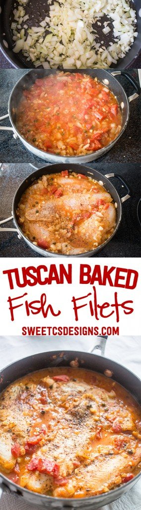 Tuscan baked fish filets- these are delicious, quick and easy! No fishy smell or taste with this 5 ingredient dish!