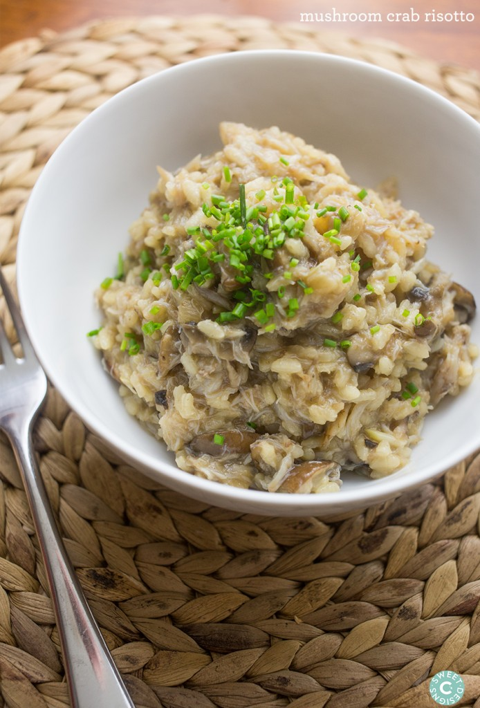 mushroom crab risotto- this easy delicious dish is a perfect date night or dinner party meal