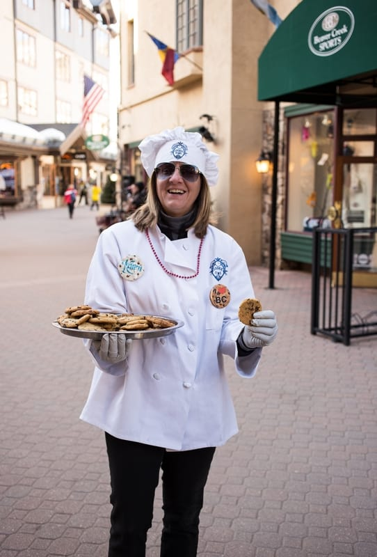 Beaver Creek- everyday chefs pass out their famous chocolate chip cookies through the village!