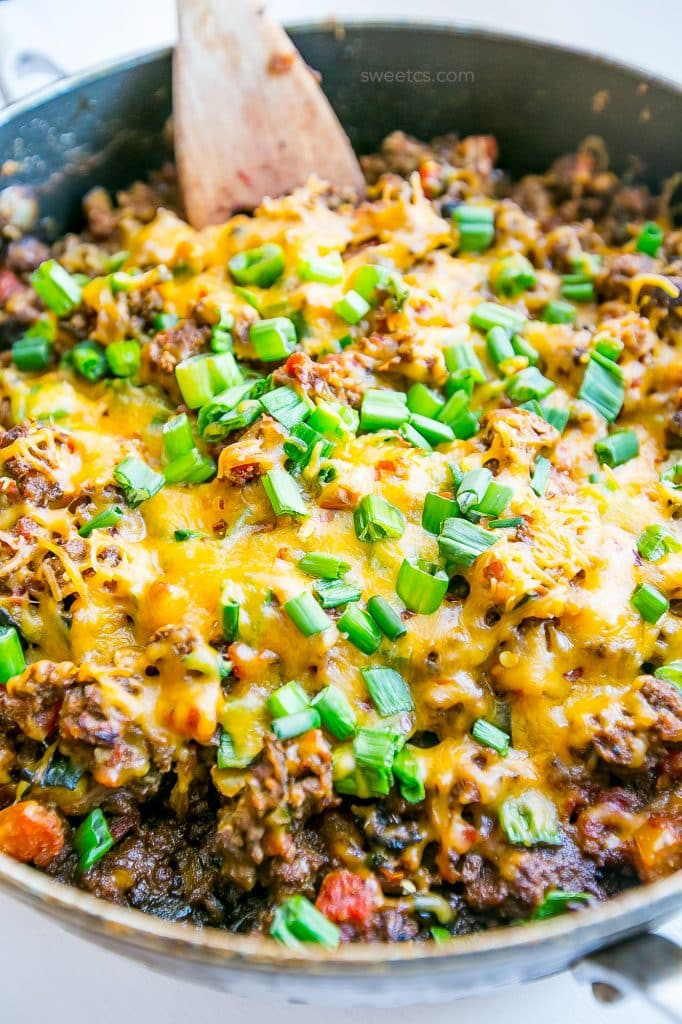 This low carb cheesy taco skillet is our favorite family dinner!