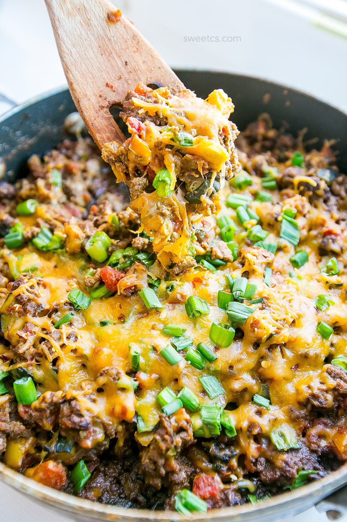 This one pot cheesy taco skillet is my favorite low carb meal!