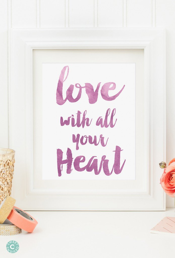 love with all your heart free printable- 5 great watercolor colors!
