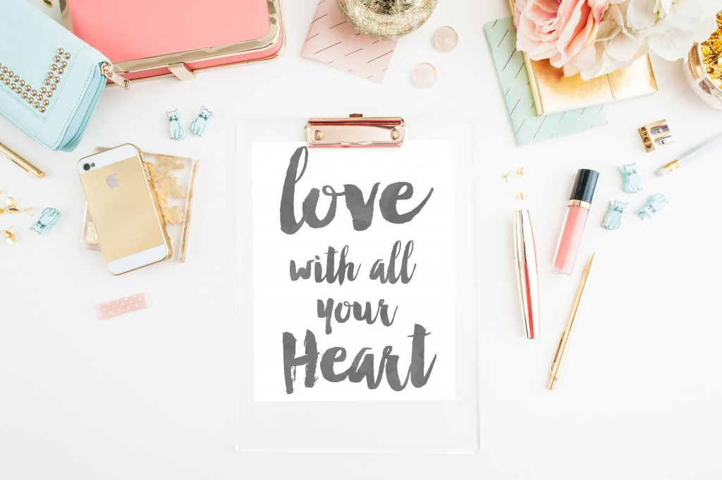 love with all your heart printable- 3 lovely colors!