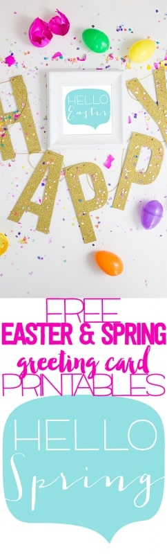 Super cute hello spring & hello easter greeting card printables