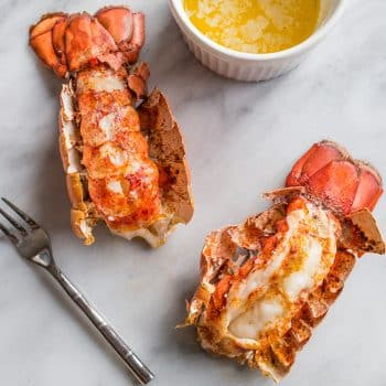 10 Minute Butter Poached Lobster Tails in a Garlic Lemon Cream Sauce