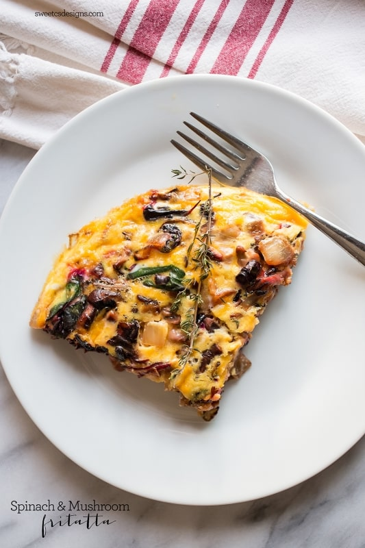 spinach and mushroom fritatta- delicious easy meal!