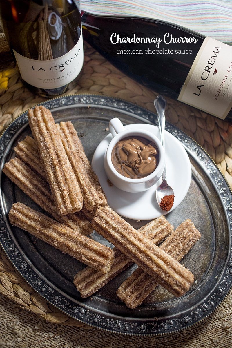 Chardonnay churros with spicy mexican chocolate- make cinco de mayo more festive!