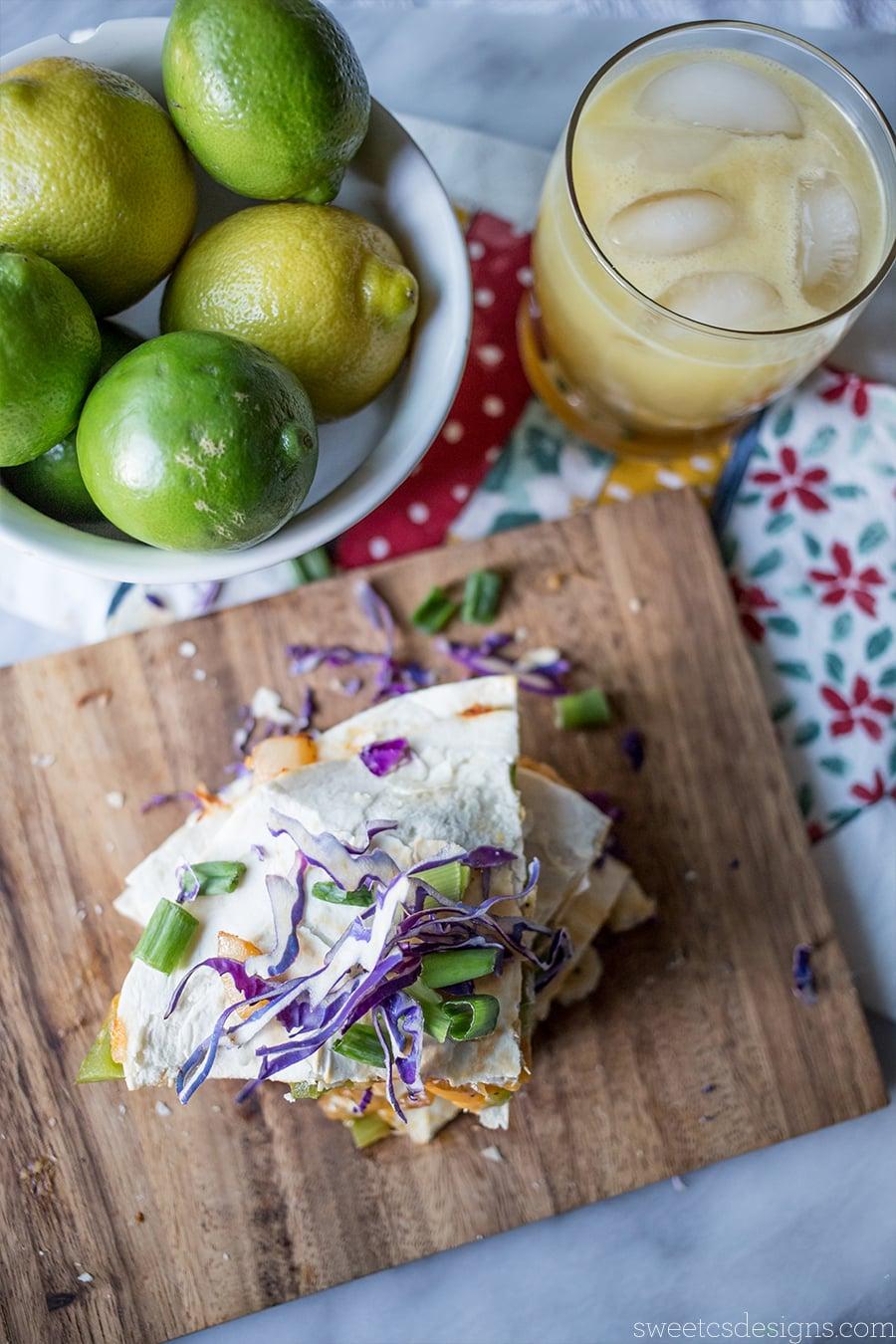Cheesy shrimp quesadillas and a light margarita cocktail for cinco de mayo!