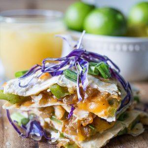 Easy Cheesy Shrimp Fajita Quesadillas