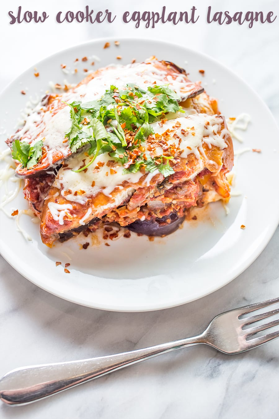 Quick and easy crockpot eggplant lasagne- easy and healthy!