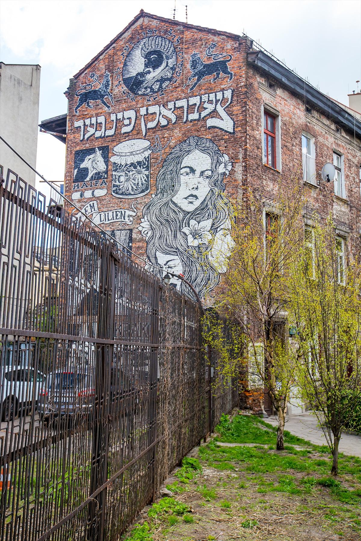 Art outside synagogue, krakow