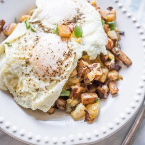 Fried Egg Cheesy Veggie Homefries Skillet