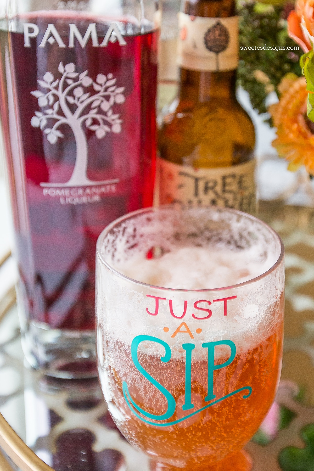 Pomegranate beer cocktail- this is the tastiest, most delicious summer party drink!