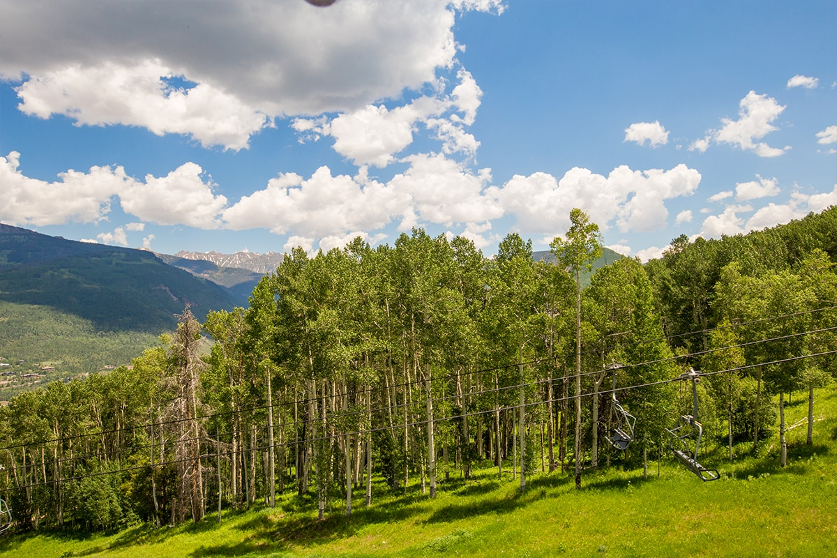 View from Eagle Bahn Gondola, Vail, in summer