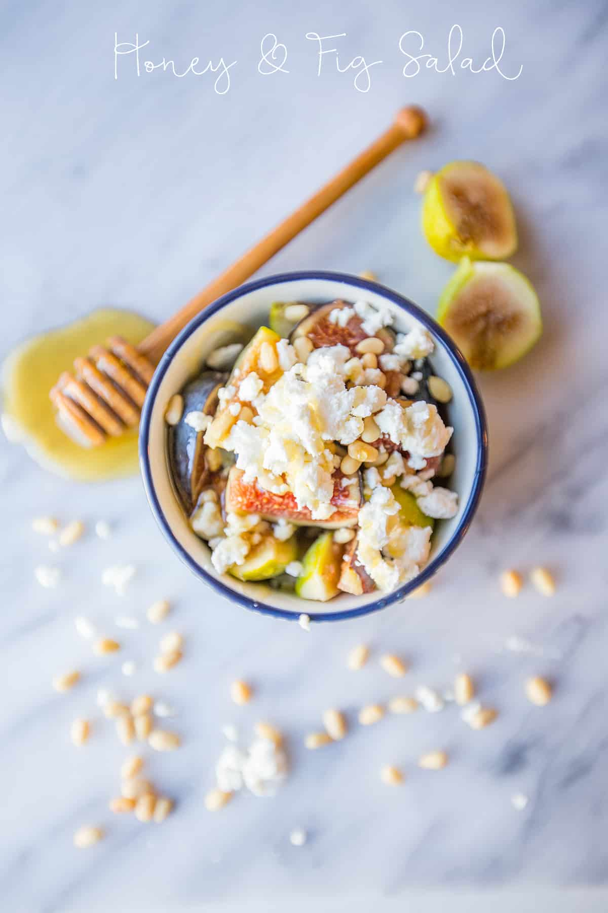 Honey and fig fruit salad with chevre and pine nuts- this is the most delicious fresh fig dish!