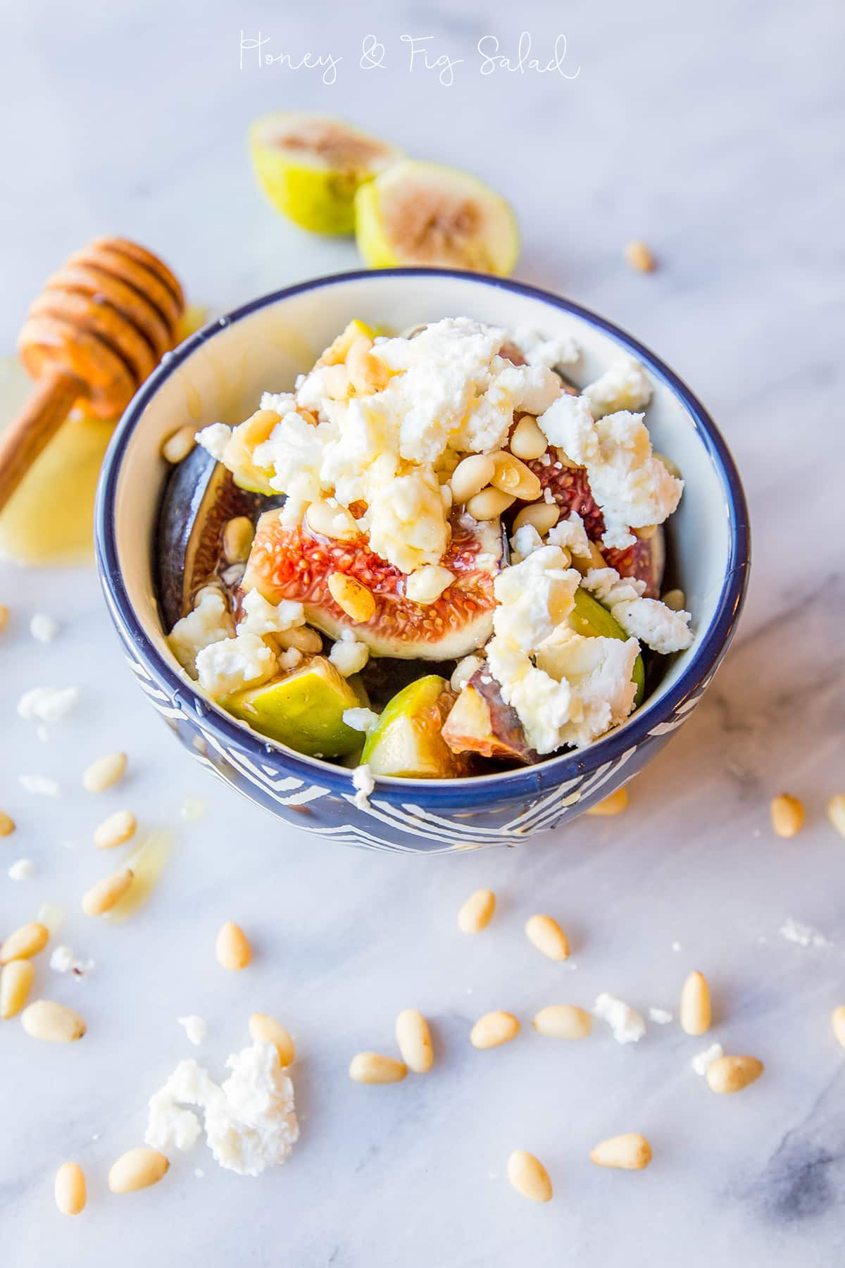 Honey and fig fruit salad with fresh chevre and pine nuts- my favorite!