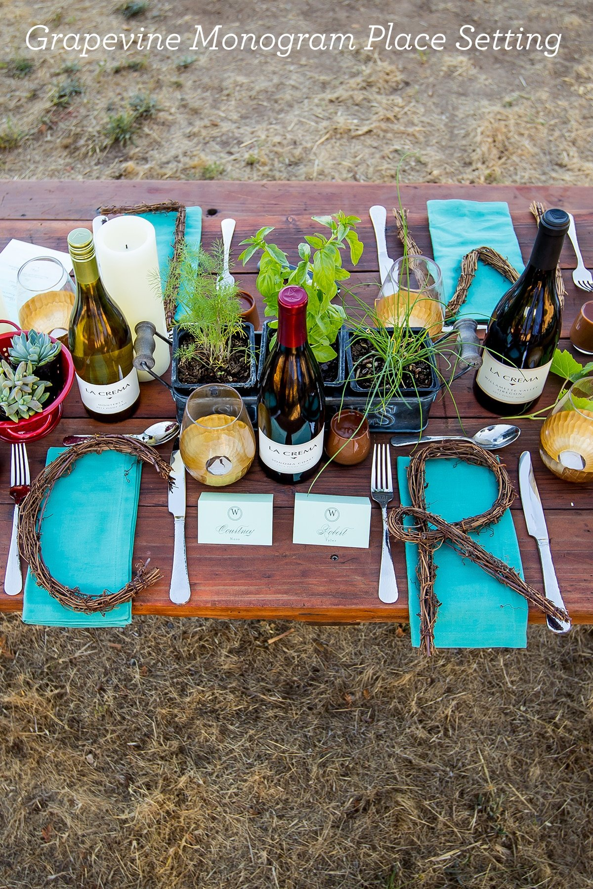 Grapevine monogram place setting- love this idea!
