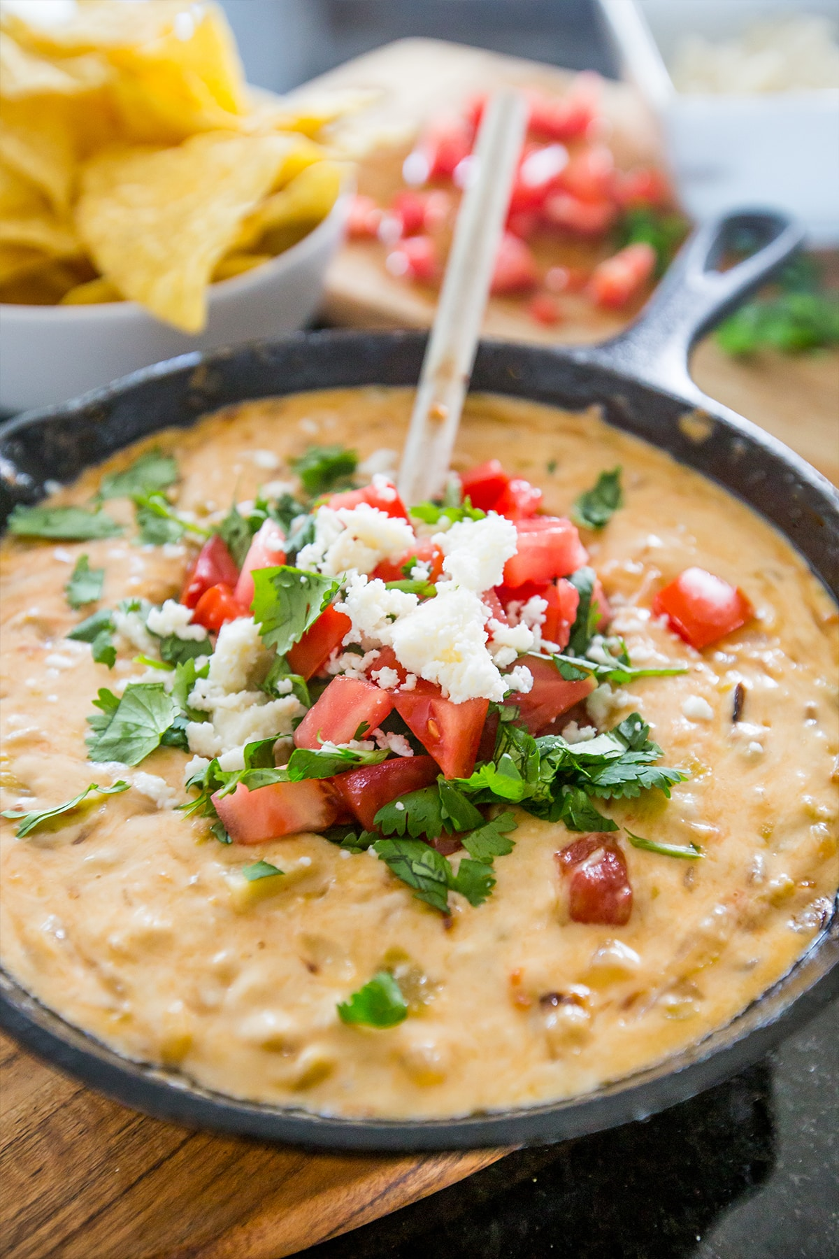 This is the most delicious queso- and so easy to make from fresh ingredients and real cheese!