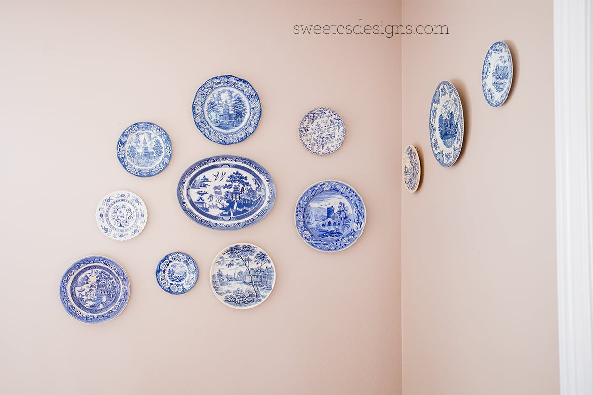 Blue willow plate wall
